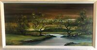 """Vintage Original Oil Painting On Wood Signed T. Stone Creek,Trees 24""""x 12"""""""