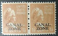 Canal Zone 1937 US martha washington overprinted 1.5c brown pair mnh