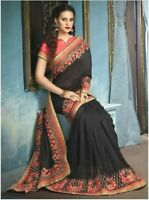 Indian Black Georgette Sari with Blouse heavy embroidery Bollywood inspired UK