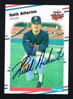 Keith Atherton #1 signed autograph auto 1988 Fleer Baseball Trading Card