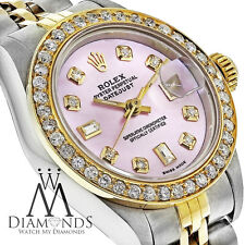 Pre-owned Rolex 69173 Women's Datejust Two-tone Gold Watch with diamond bezel