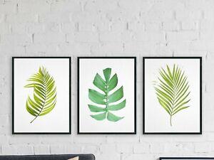 WALL ART Leaves Set of Three Piece Tropical Palm Leaf Wall Art, Plant,