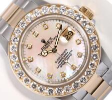 Rolex Submariner 16613 Gold/SS 40mm Watch-VVS 5CT Diamond Bezel-MOP Diamond Dial