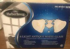 Harbor Breeze 4 Light Antique White Glass Ceiling Fan Light Kit 76782