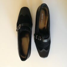 David Tate Sara Shoe Oxford women size 8.5 black buckle suede leather