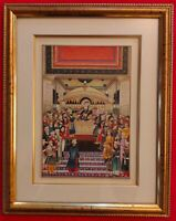 Hand Painted Mughal Court Scene Miniature Painting India Art Maharajah Framed