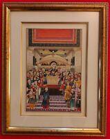 Hand Painted Mughal Court Scene Miniature Painting India Art Maharajah Framed
