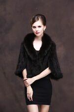 100% Real Genuine Knitted Mink Fur Shawls Fox Fur Collar Wraps Bridal Cape Coat