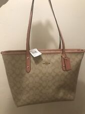 Coach City Zip  Tote In Signature Leather Trimmed Khaki /Vintage Pink F58292NWT