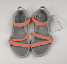 Crocs Womens Swiftwater Webbing Flat Sandals (Bright Coral/Light Grey)