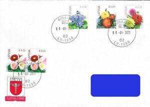 Latvia 2021 (Reprint) Definitive - Flowers - Blue anemone, Marigold, Dahlia fdc