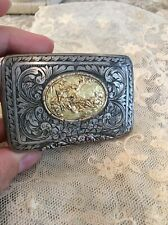 Antique Vtg snuff box trinket box 800 Silver Ornate etching gold color scene