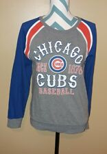 Womens Small MLB Baseball Chicago Cubs 5th & Ocean Distressed Baseball Sweater