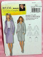 Uncut Butterick Sz XS-XL Front Button Jacket & Straight Skirt Pattern 5336 Suit