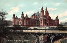 Vtg TUCK POSTCARD GLASGOW SCOTLAND ART GALLERY SCOTTISH BRIDGE RIVER Unused