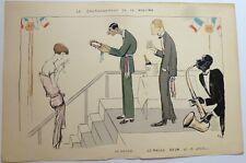 """Lithographie - SEM, jazz, """"Le couronnement de la rosière"""""""