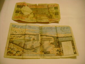 1964 ALGERIA 100 AND 10 DINARS CIRCULATED NOTES SET POOR CONDITION  (2548)