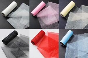 "10 yards Organza Giltter Tulle 6"" Ribbon Roll/Trim/Craft/Tutu/Wedding R72-Colors"