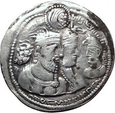Vahram ( Bahram ) II with QUEEN & Prince Ancient Silver Sassanian Coin i65255