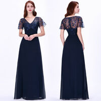 Ever-Pretty Long Bridesmaid Dresses V neck Cap Sleeve A Line Party Dress 07706