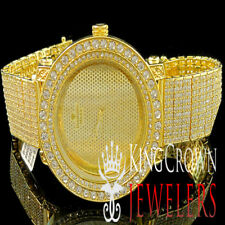 Mens Yellow Gold Jojo Jojino Joe Rodeo 10Row Custom Band Simulated Diamond Watch