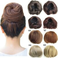 Natural Straight Hair Bun Updo Cover Chignon Drawstring Clip In Hair Extensions