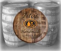 Rustic Home Bar Decor Tito's Vodka Handmade Texas Barrel Lid wood wall art sign
