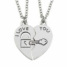 2pcs/Set I Love You Heart Lock & Key Couple Chain Couple Pendant Necklace Gifts