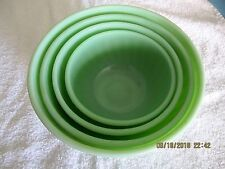Vintage FIRE KING Complete 4 Piece MIXING BOWL Set - Jadeite Swirl Pattern