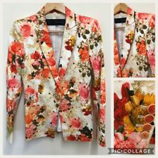 Zara Womens Floral Collared Jacket Blazer Celeb Bloggers Fave Size Small 10UK