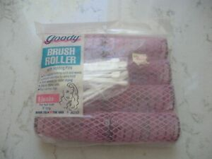 8 vintage hair rollers brush mesh curlers  Goody Jumbo pink & picks NEW sealed
