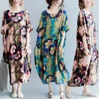 ZANZEA Women Cotton Floral Printed Kaftan Summer Short Sleeve Maxi Shirt Dress