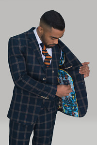 Mens Cavani Quality Premium Navy Blue Check Wedding Tailored Fit 3 Piece Suit