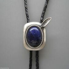 Silver Plated Blue Plessite Stone Western Cowboy Rodeo Oval Bolo Tie