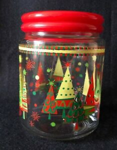 """Vintage Glass Christmas Tree Canister/Cookie Jar ~5 3/4"""" tall with Red Lid"""