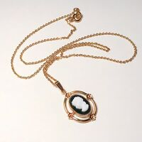 Mourning Cameo Pendant Necklace, Gold Tone Chain, Black & White, Vintage