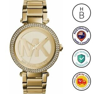 New Michael Kors Ladies Watch Parker Gold Tone Steel MK Logo Glitz Dial MK5784