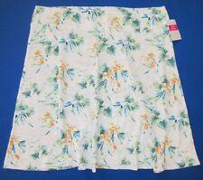 FRESH PRODUCE Large White PARADISE Floral MARINA Slub Cotton Skirt NWT New L