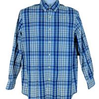 Chaps Size M Men's Casual Shirt Button Front Long Sleeve Blue White Plaid Cotton