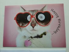 Happy Birthday Greeting Card With a Cat With Red Glasses