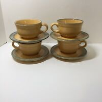 4 Cups & Saucers America Pfaltzgraff MAFA 100 Folk Art 8 oz