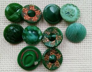 10  boutons anciens en verre de 1,8 cm