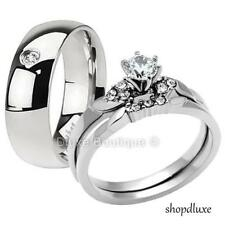 Steel Wedding Engagement Ring Band Set His Hers 3 Piece Men'S Women'S Stainless