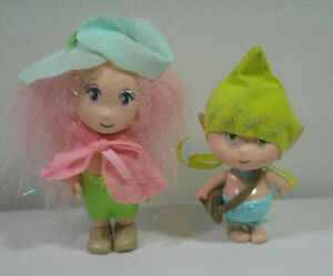 "Dollhouse Miniature Pixie Dolls 3"" Girl 2.5"" Boy Plastic Little People Vintage"