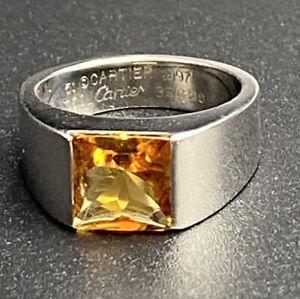 Cartier 18k White Gold Citrine Tank Ring, 1997, size EU 51/US 5.75