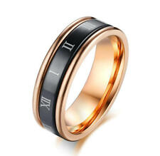 Women Rose Gold Plating Spinner Ring Roman Numerals Turnable Band 6MM Size M-S