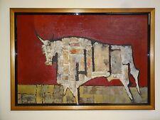 Vintage Mid Century Modern Cubism Modernist Bull Steer Mixed Media Oil Painting