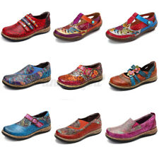 SOCOFY Women Floral Genuine Leather Shoes Stitching Hook Loops Splicing  !