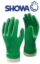 SHOWA 600 PVC Grün Gartenarbeit Wasserdichte Handschuhe Knit Handgelenk Size 7/S