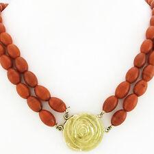 Korallen-Collier - zweireihig - Kastenschließe in Rosenform - 585/14K Gelbgold